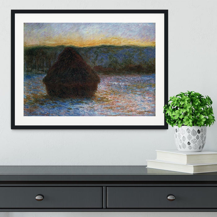 Haylofts thaw sunset by Monet Framed Print