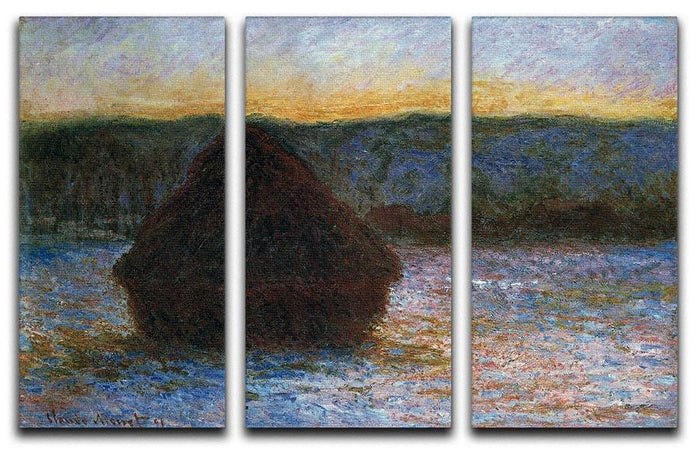 Haylofts thaw sunset by Monet Split Panel Canvas Print