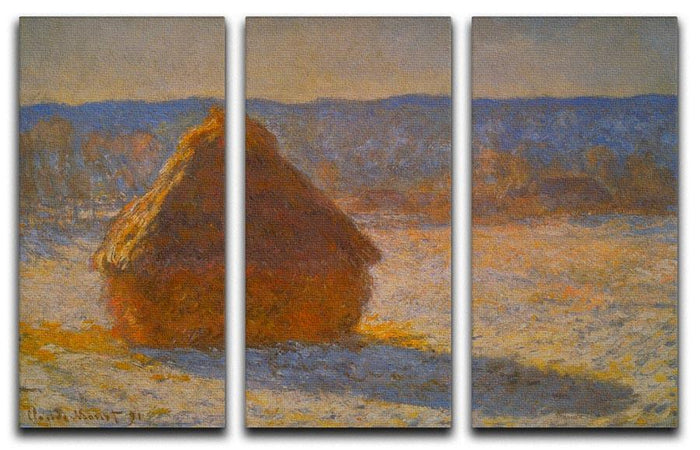 Haystacks in Snow by Monet Split Panel Canvas Print