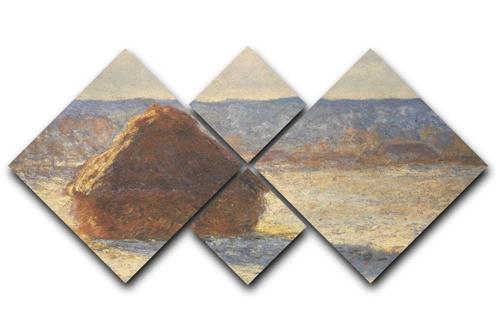 Haystacks snow morning by Monet 4 Square Multi Panel Canvas