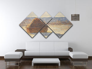 Haystacks snow morning by Monet 4 Square Multi Panel Canvas - Canvas Art Rocks - 3
