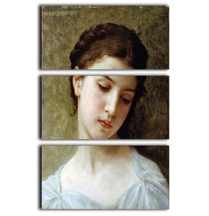 Head Of A Young Girl 1898 By Bouguereau 3 Split Panel Canvas Print - Canvas Art Rocks - 1