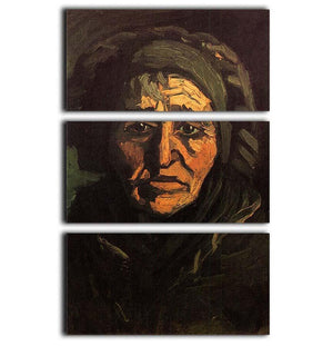 Head of a Peasant Woman with Greenish Lace Cap by Van Gogh 3 Split Panel Canvas Print - Canvas Art Rocks - 1