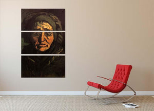 Head of a Peasant Woman with Greenish Lace Cap by Van Gogh 3 Split Panel Canvas Print - Canvas Art Rocks - 2