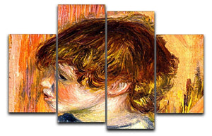 Head of a young girl by Renoir 4 Split Panel Canvas  - Canvas Art Rocks - 1