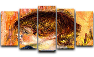 Head of a young girl by Renoir 5 Split Panel Canvas  - Canvas Art Rocks - 1