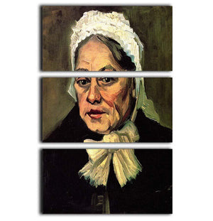Head of an Old Woman with White Cap The Midwife by Van Gogh 3 Split Panel Canvas Print - Canvas Art Rocks - 1