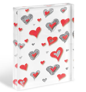 Heart Pattern Acrylic Block - Canvas Art Rocks - 1