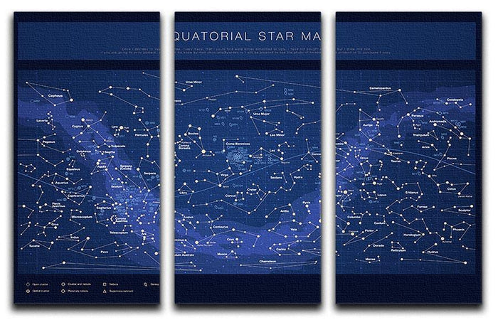 High detailed star map with names of stars contellations 3 Split Panel Canvas Print