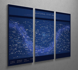 High detailed star map with names of stars contellations 3 Split Panel Canvas Print - Canvas Art Rocks - 2
