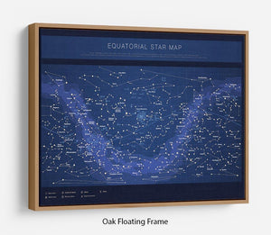 High detailed star map with names of stars contellations Floating Frame Canvas
