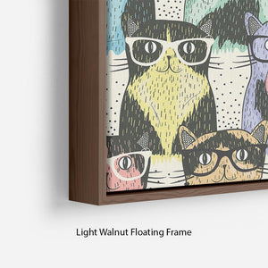 Hipster cute cats Floating Frame Canvas