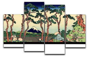 Hodogaya on the Tokaido by Hokusai 4 Split Panel Canvas  - Canvas Art Rocks - 1