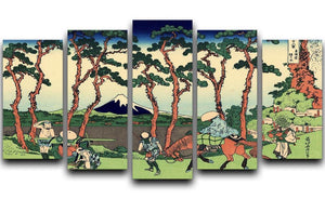 Hodogaya on the Tokaido by Hokusai 5 Split Panel Canvas  - Canvas Art Rocks - 1