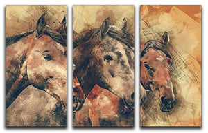 Horse Painting 3 Split Panel Canvas Print - Canvas Art Rocks - 1