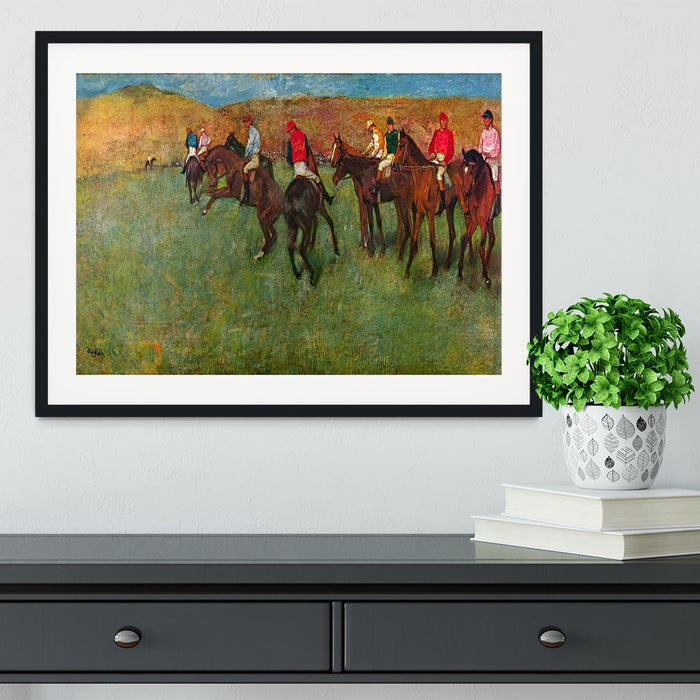 Horse race before the start by Degas Framed Print