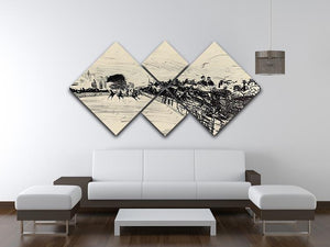Horse racing by Manet 4 Square Multi Panel Canvas - Canvas Art Rocks - 3
