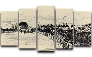 Horse racing by Manet 5 Split Panel Canvas  - Canvas Art Rocks - 1