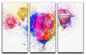 Hot Air Ballon Splash Version 2 3 Split Panel Canvas Print - Canvas Art Rocks - 1