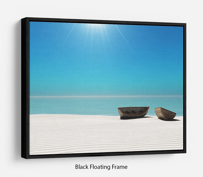 Hot Sun on White Sand Floating Frame Canvas