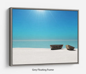 Hot Sun on White Sand Floating Frame Canvas - Canvas Art Rocks - 3