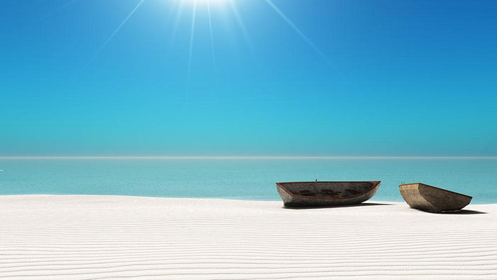 Hot Sun on White Sand Wall Mural Wallpaper