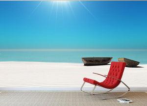 Hot Sun on White Sand Wall Mural Wallpaper - Canvas Art Rocks - 2
