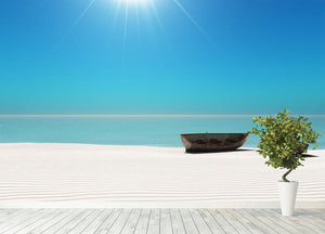Hot Sun on White Sand Wall Mural Wallpaper - Canvas Art Rocks - 4