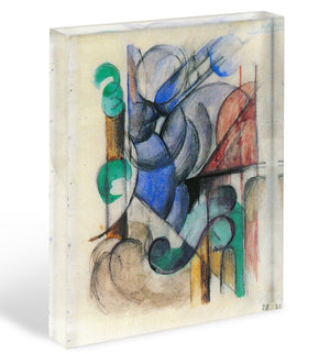 House in abstract landscape by Franz Marc Acrylic Block - Canvas Art Rocks - 1