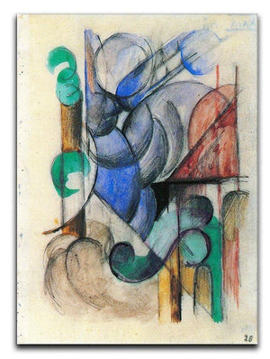 House in abstract landscape by Franz Marc Canvas Print or Poster  - Canvas Art Rocks - 1