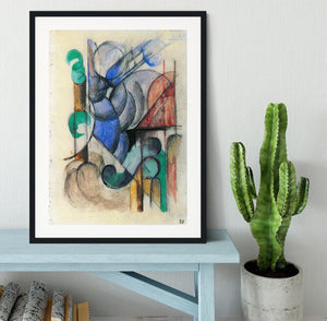 House in abstract landscape by Franz Marc Framed Print - Canvas Art Rocks - 1