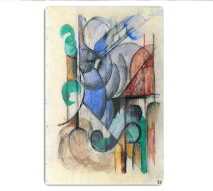 House in abstract landscape by Franz Marc HD Metal Print