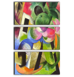 House with trees by Franz Marc 3 Split Panel Canvas Print - Canvas Art Rocks - 1