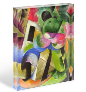 House with trees by Franz Marc Acrylic Block - Canvas Art Rocks - 1