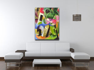 House with trees by Franz Marc Canvas Print or Poster - Canvas Art Rocks - 4
