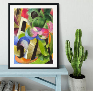 House with trees by Franz Marc Framed Print - Canvas Art Rocks - 1