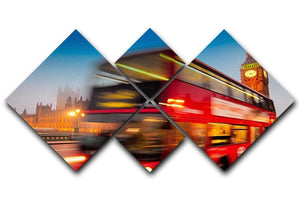 Houses Of Parliament red double-decker bus 4 Square Multi Panel Canvas  - Canvas Art Rocks - 1