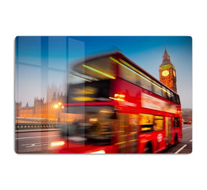 Houses Of Parliament red double-decker bus HD Metal Print