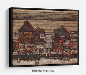 Houses with laundry lines and suburban by Egon Schiele Floating Frame Canvas - Canvas Art Rocks - 1
