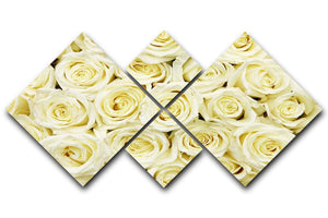 Huge bouquet of white roses 4 Square Multi Panel Canvas  - Canvas Art Rocks - 1