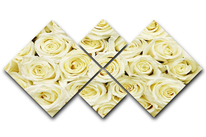Huge bouquet of white roses 4 Square Multi Panel Canvas