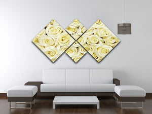 Huge bouquet of white roses 4 Square Multi Panel Canvas  - Canvas Art Rocks - 3