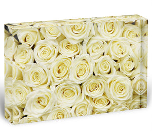 Huge bouquet of white roses Acrylic Block - Canvas Art Rocks - 1