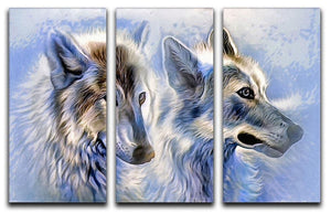 Ice Wolf Painting 3 Split Panel Canvas Print - Canvas Art Rocks - 1