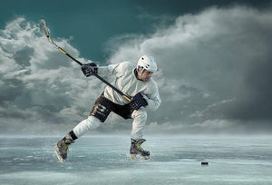 Ice hockey player in action Wall Mural Wallpaper - Canvas Art Rocks - 1