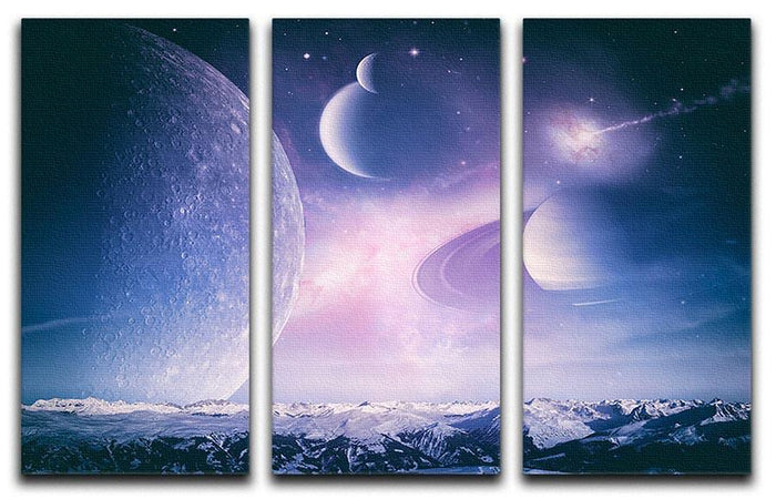 Ice world and planets 3 Split Panel Canvas Print