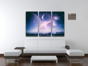 Ice world and planets 3 Split Panel Canvas Print - Canvas Art Rocks - 3