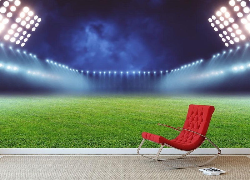 Illuminated football ground Wall Mural Wallpaper - Canvas Art Rocks - 1
