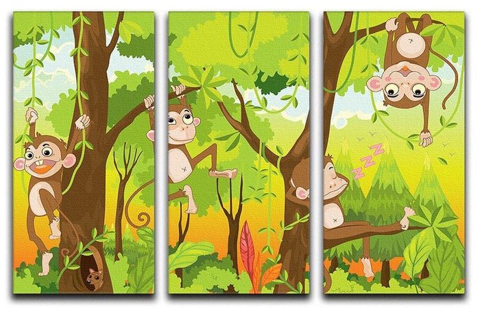 Illustration of a monkey in a jungle 3 Split Panel Canvas Print
