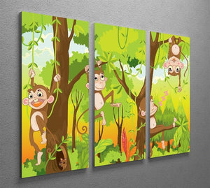 Illustration of a monkey in a jungle 3 Split Panel Canvas Print - Canvas Art Rocks - 2